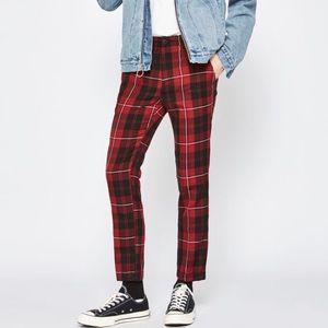 Pacsun Red Plaid Skinny Pants